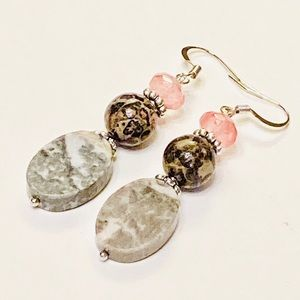 Leopard Skin Jasper Cherry Quartz Marble Earrings